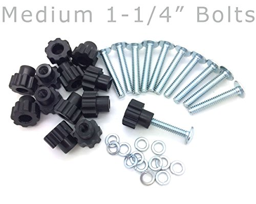 Pet Carrier Bolt Fasteners - Black Nylon Nuts (20 pack, 1-1/4