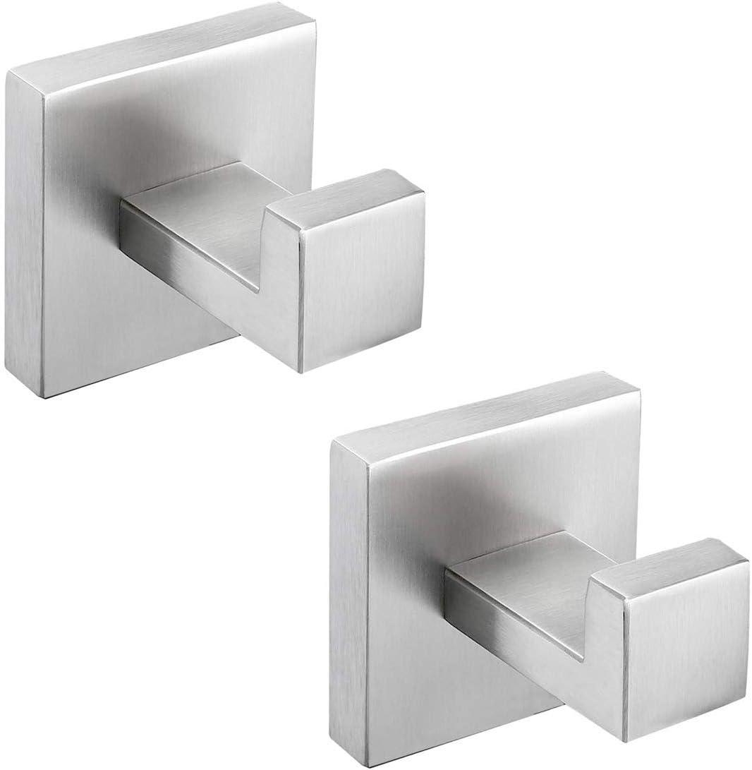 OKF Bathroom Towel Hooks Brushed Nickel Robe Hook, Hooks for Hanging  Towels, Bath Hand Robe Hook Square Modern Shower Wall Mounted Stainless  Steel