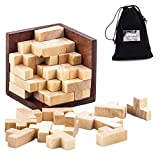 3D Wooden Brain Teaser Puzzle Game, LiKee Novelty Building Puzzle Cube Blocks 54 T-shaped Tetris Pieces Creative Educational Toy for Kids Teens Adults with Storage Bag