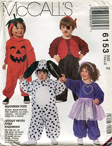 McCall's Pattern 6153 Halloween Tots Costumes, Toddler Size (Mccalls Patterns Halloween Costumes Toddlers)