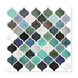 """Arabesque Mosaic Wall Stick Tiles Peel and Stick Self-Adhesive DIY Backsplash Stick-on Vinyl Wall Tiles for Kitchen and Bathroom 10"""" X 10"""" Each, 4 Sheets Pack (Blue Green Mixed)"""