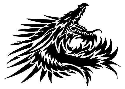 UR Impressions Blk Tribal Dragon Head Decal Vinyl Sticker Graphics Car Truck SUV Van Wall Window Laptop|Black|7.5 X 5.4 Inch|URI407-B ()