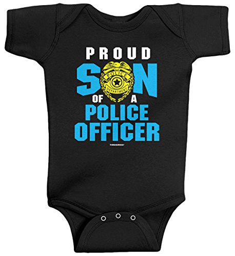Threadrock Baby Boys' Proud Son of a Police Officer Infant Bodysuit 6M Black