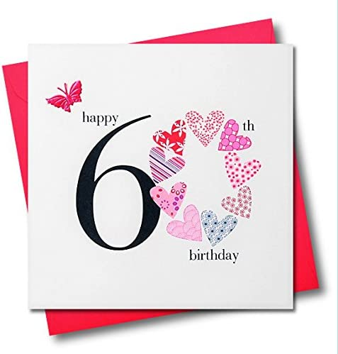 Claire Giles Hearts and Stars Happy 60th Birthday Card Pink