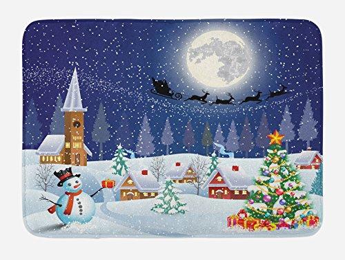 Christmas Sleigh Box - Ambesonne Christmas Bath Mat, Winter Season Snowman Xmas Tree Santa Sleigh Moon Present Boxes Snow and Stars, Plush Bathroom Decor Mat with Non Slip Backing, 29.5 W X 17.5 W Inches, Blue White