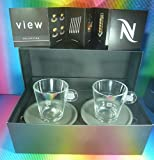 NESPRESSO VIEW 2 LUNGO CUPS & 2 SAUCERS,NEW, BRAND NEW IN BRAND BOX A & P CAHEN DESIGN,