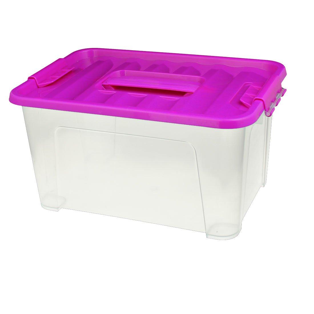 uxcell 32cm x 23cm x 16cm Plastic Purple Cap Latching Handle Box
