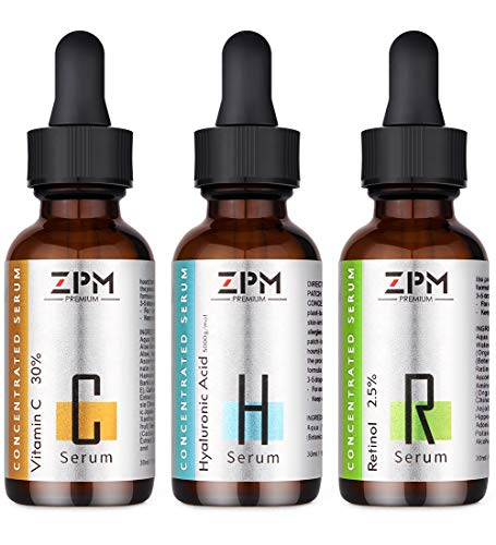 3 Pack Serums Kit for Face with Vitamin C Serum, Retinol Serum, Hyaluronic Acid Serum - Skin Care Face Serum to Anti-Aging & Anti-Wrinkle- Perfect Gifts for Mother Woman Girlfriend