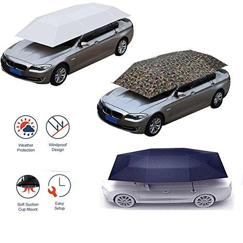 YOUNGFLY Semi-automatic Car Tent Movable Carport Folded Portable Automobile Protection Car Umbrella Sunproof Sun Shade Canopy Cover Grey