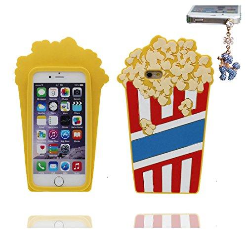 """iPhone 6 Plus Coque (5.5""""), TPU Flexible Case iPhone 6S Plus Étui (5.5""""), 3D Popcorn Dust Slip Scratch Resistant & Bouchon anti-poussière"""