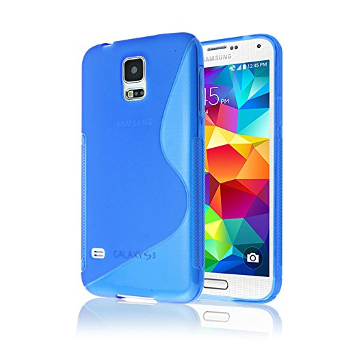 Samsung Galaxy S5 Case, Galaxy S5 Phone Case [RUBBER] by Cable and Case(TM) - Transparent Blue Soft Non-Slip Soft Jelly Skin Cover With Vibrant Trendy Colors And Sure Grip Texture (Blue)