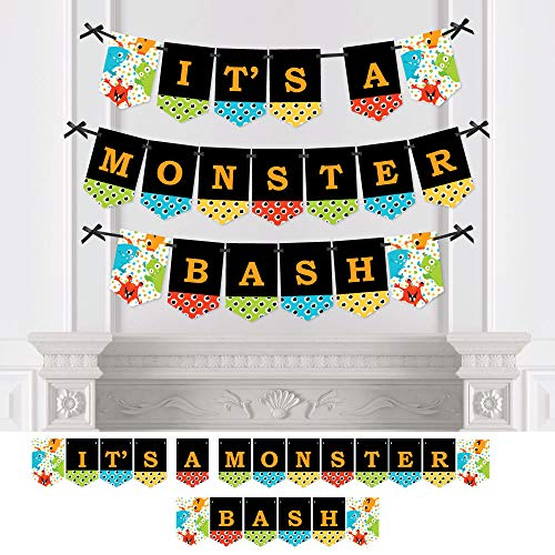 Big Dot of Happiness Monster Bash - Little Monster Birthday Party or Baby Shower Bunting Banner - Party Decorations - It's a Monster Bash ()
