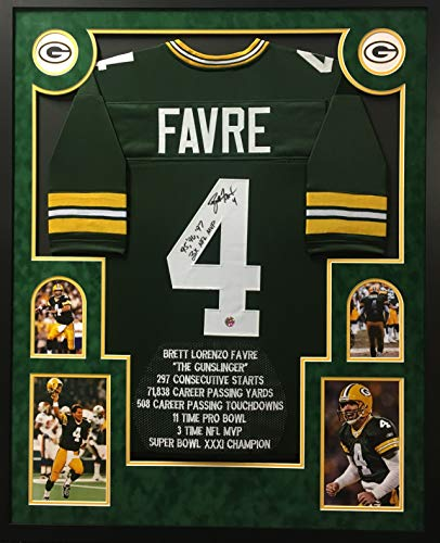 Brett Favre Green Bay Packers Autograph Signed Custom Framed Jersey Suede Matted Green Multi Inscribed Custom Stat Embroidered Favre Authentic Certified
