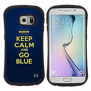 """Pulsar iFace Series Tpu silicona Carcasa Funda Case para Samsung Galaxy S6 EDGE , Oro amarillo Mantenga motivación de la cita en calma"""""""