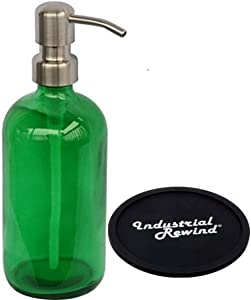 Industrial Rewind Executive Style Green Glass Soap Dispenser with Stainless Steel Pump and Non Slip Coaster/Countertop Protector - Green 16oz Glass Bottle Lotion Bottle