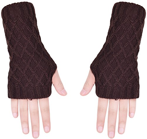Hand Wrist Warmers for Women Men Knit Fingerless Gloves Mittens Thumb Hole Mitts