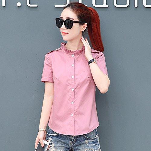 Donna A Mezza Top Maglietta Slim Rosa Corte Casual Camicia Momo112336 Maniche Estiva Joker Manica A5qzcpRw