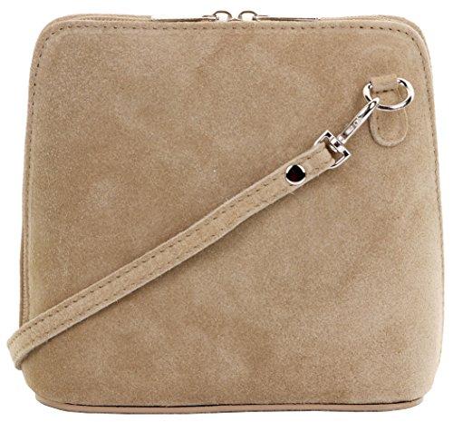 Primo Sacchi cuir Suede italien petit/micro sac de carrosserie ou sac à bandoulière sacs à main. Comprend un sac de rangement de marque Beige Clair