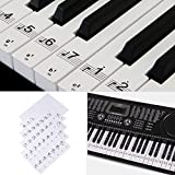 WANDIC 1PC Piano Stickers for 54/61 Key Keyboards Removable Piano Note Decal Stickers for White and Black Keys Transparent