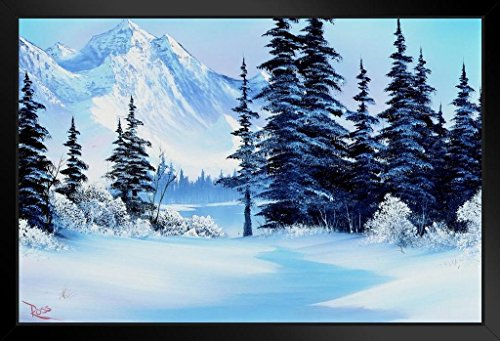 Bob Ross Winter Mountain Art Print Painting Framed Poster 14x20 inch