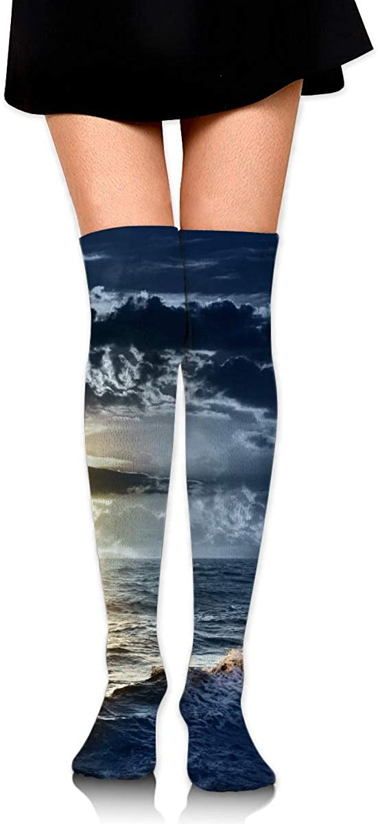 Women Crew Socks Thigh High Knee Sunset Sea Wave Long Tube Dress Legging Sport Compression Stocking