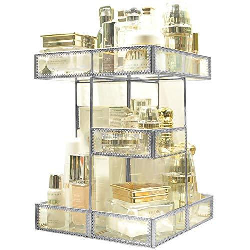 360 Degree Rotation Visible Skincare Organizer Antique Countertop Vanity Cosmetic Storage Mirror -