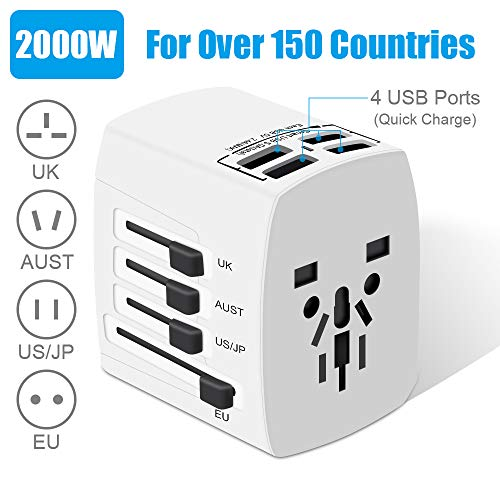 Travel Adapter, 2000W International Power Adapter, All in One Universal Power Adapter 4 Quick Charge USB 3.0 Ports UK, EU, AU, US, Over 150 Countries (White)
