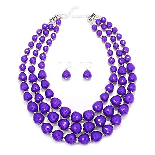 MJULY Women 3 Layers Bib Jewelry Acrylic Beads Statement Strand Chunky Necklace and Earring Set (Purple)