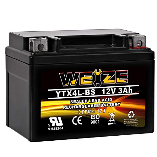 Weize YTX4L BS Motorcycle Battery ETX4L-BS High Performance - Rechargeable - Sealed AGM YTX4L-BS Scooter ATV Batteries Use For Honda Polaris Kawasaki Suzuki Yamaha