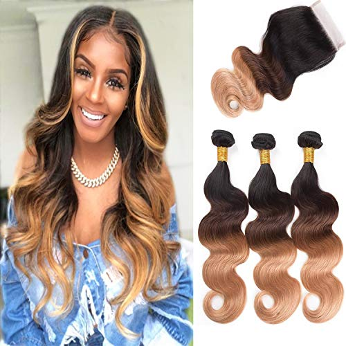 ALI RAIN Human Hair Bundles Body Wave Virgin Brazilian Hair Bundles with Closure Weave Hair Human Bundles With Closure 3 Bundles with Closure (10 12 14 + 8, T1B/4/27) ()