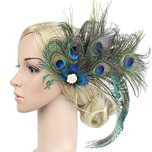 Song Fascinator Peacock Feather Headdress Wedding Hair Clip Party Flapper Headwear