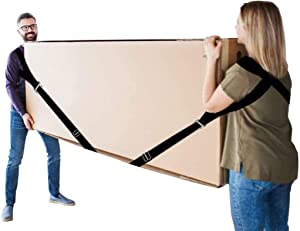 Black Detachable Shoulder Strap, Nylon Mobile Straps - Moving Straps for Furniture, Washing Machine, Cushion or Heavy Objects up to 600 Pounds