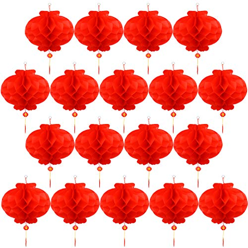 Resinta 20 Pieces Red Chinese Lanterns Decorations for Chinese New Year, Spring Festival, Lantern Festival Celebration Supplies Or Décor (10 inch)