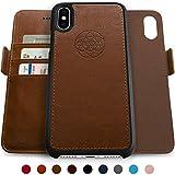 Dreem Fibonacci Wallet Case for iPhone X & Xs, Magnetic Detachable PC Slim-Case, Luxury Vegan Leather, RFID Protection, Smart 2-Way Stand, Gift Box - Chocolate