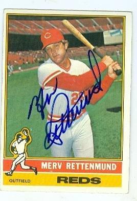 1976 Topps Autographed Baseball Card (Merv Rettenmund autographed baseball card (Cincinnati Reds) 1976 Topps #283 - Baseball Slabbed Autographed Cards)