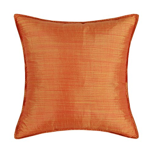 Euphoria CaliTime Cushion Cover Throw Pillow Case Shell, Modern Silky Light Weight Dyed Stripes Both Sides, 18 X 18 Inches, Orange
