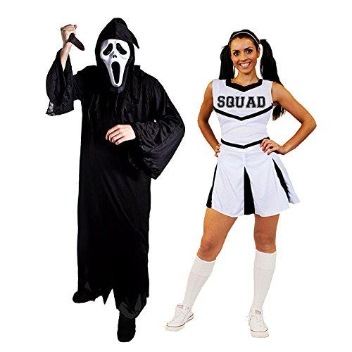 ILOVEFANCYDRESS Halloween Paar=WEISSESCHEERLEADER+SCHREI SENSENMANN=KOSTÜM VERKLEIDUNGEN=DAS Kleid HAT DIE Aufschrift Squad=Reaper+Maske + Messer= Reaper-XLarge+MEDIUM-Cheerleader B073WCDN1C Kostüme für Erwachsene Haltbarkeit | Verschiedene aktuelle