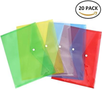 SurfMall 20PCS Carpeta Plástico Portafolios Coloridos A4 Sobres con Botón Anillo de 5 Diferentes Colores: Amazon.es: Oficina y papelería