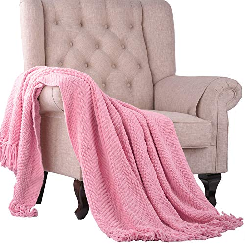 Home Soft Things Knitted Tweed Throw Couch Cover Blanket, 50 x 60, Candy Pink