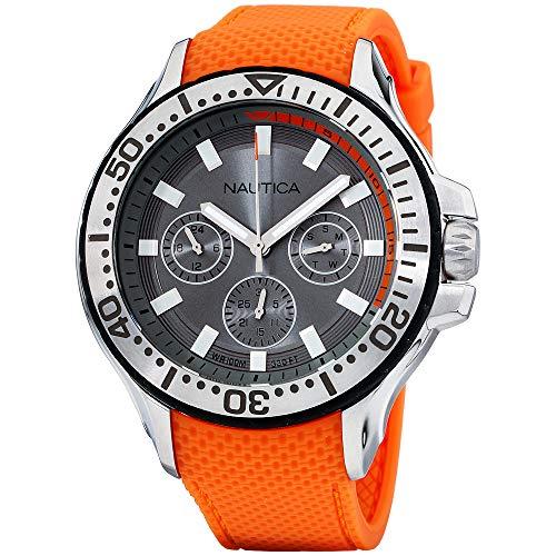 Nautica Men's Auckland Stainless Steel Japanese-Quartz Watch with Silicone Strap, Orange, 22 (Model: NAPAUC002) ()