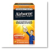 Airborne Citrus Chewable Tablets, 96 count - 1000mg of Vitamin C - Immune Support Supplement