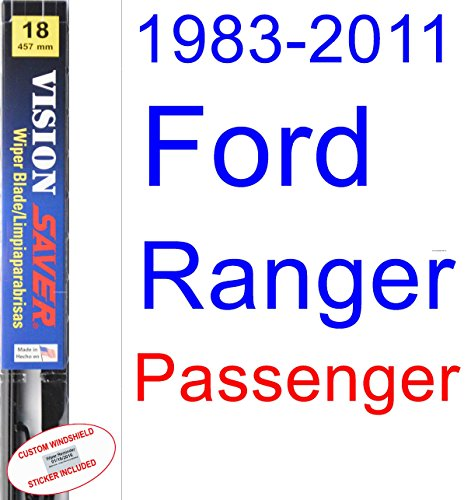 Ranger Ford Blades Wiper (1983-2011 Ford Ranger Wiper Blade (Passenger) (Saver Automotive Products-Vision Saver) (1984,1985,1986,1987,1988,1989,1990,1991,1992,1993,1994,1995,1996,1997,1998,1999,2000,2001,2002,2003,2004,2005))