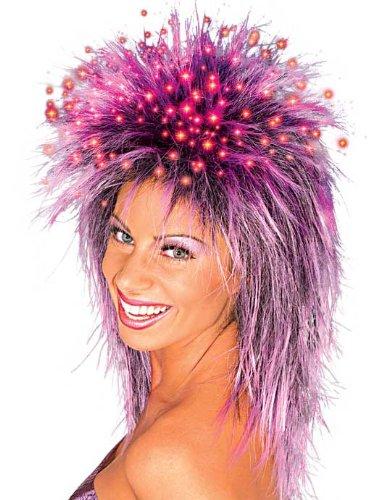 Purple Fiber Optic Wig (Rubie's Costume Fiber Optic Spiky Wig, Black/Purple, One Size)