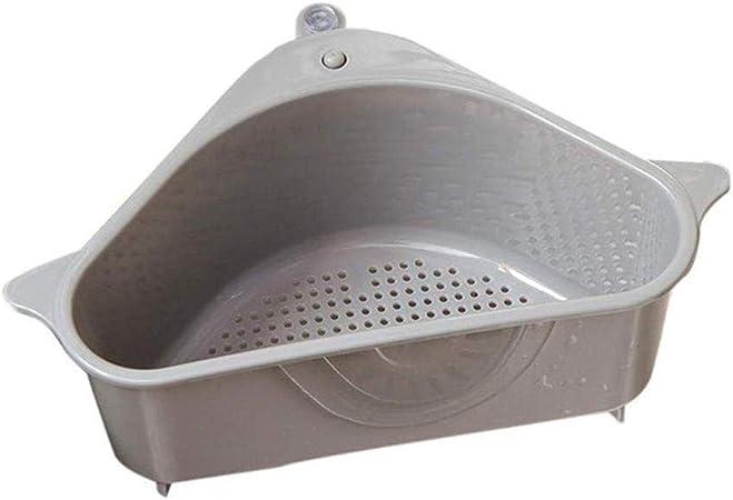 /étag/ère de Drainage Support de Stockage Triangulaire Panier /évier /étag/ère de Rangement Multifonctionnel avec Ventouse pour Salle de Bains de Cuisine Panier /évier
