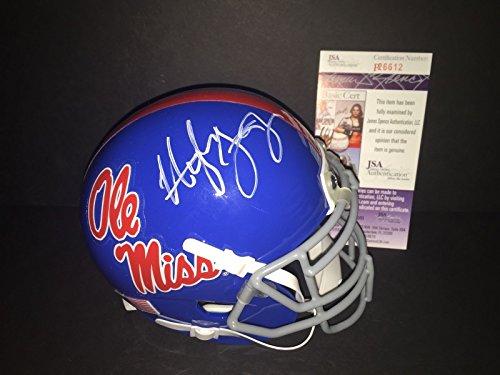 Hugh Freeze Ole Miss Rebels Autographed Signed Mini Helmet JSA COA 2