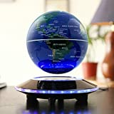WLCN Magnetic Levitating Globe Rotating World Map LED Light UFO Under Plate Spinning Globe Home Office Desk Decoration Education Geography Geology Science Development Globe Multi-Color 6 Inch Display (Dark Blue)