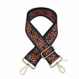 Selling Wonderful 2'' Wide 28''-50'' Adjustable Length Handbag Purse Strap Guitar Style Multicolor Canvas Replacement Strap Crossbody Strap, With 2Pcs Gold Metal Buckles (Style9)
