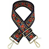 "Selling Wonderful 2"" Wide 28""-50"" Adjustable Length Handbag Purse Strap Guitar Style Multicolor Canvas Replacement Strap Crossbody Strap, With 2Pcs Gold Metal Buckles (Style9)"