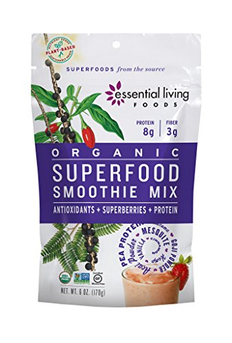 Essential Living Foods Organic Superfood Smoothie Mix, With Mesquite, Lucuma, Pea and Hemp Protein, Acai and Goji Berry Powder, Vegan, Non-GMO, Gluten Free, Kosher, 6 Ounce Resealable Bag (Bag 6 Ounce Formula)