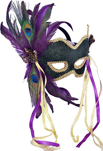 Forum Deluxe Half Mask With Peacock Feathers, Green, One (Mardi Gras Dresses For Women)